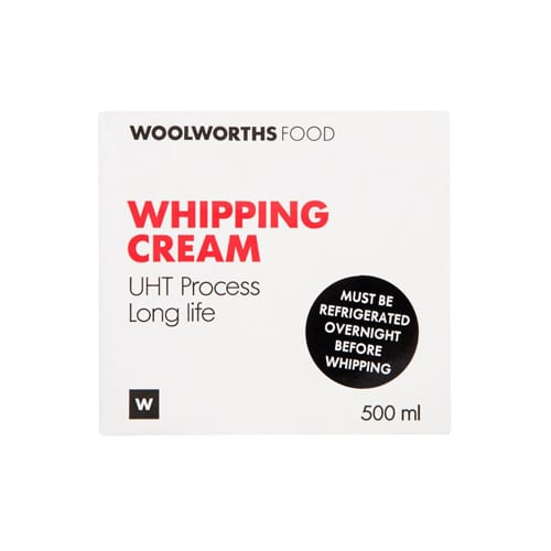 Woolworths 1 Long Life Whipping Cream 500ml 6009184629148